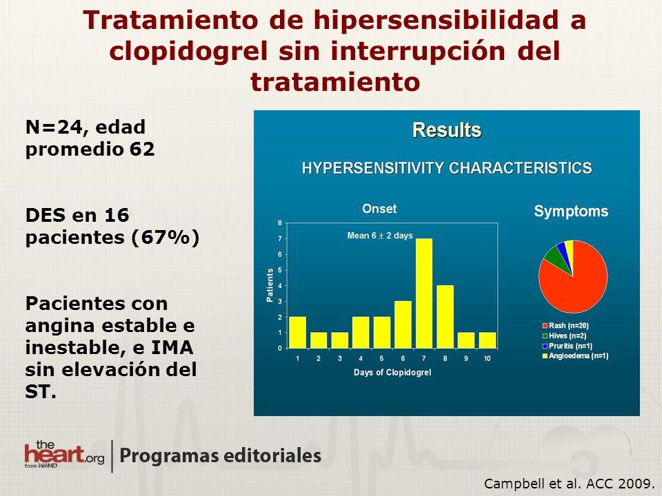 Campbell et al. ACC 2009. N=24, edad promedio 62 DES en 16 pacientes (67%) Pacientes con angina estable e inestable, e IMA sin elevación del ST. Trata