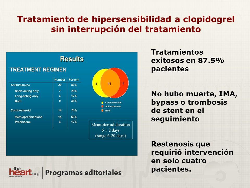 Tratamientos exitosos en 87.5% pacientes No hubo muerte, IMA, bypass o trombosis de stent en el seguimiento Restenosis que requirió intervención en so