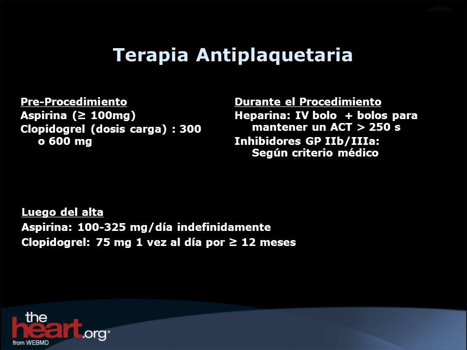 Pre-Procedimiento Aspirina ( 100mg) Clopidogrel (dosis carga) : 300 o 600 mg Durante el Procedimiento Heparina: IV bolo + bolos para mantener un ACT >