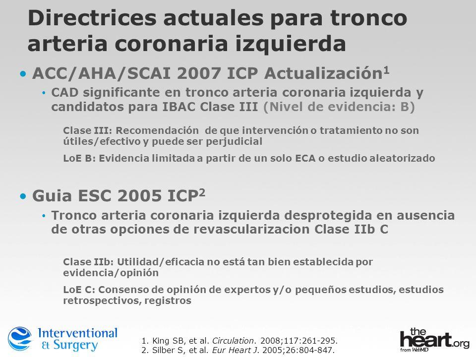 Directrices actuales para tronco arteria coronaria izquierda ACC/AHA/SCAI 2007 ICP Actualización 1 CAD significante en tronco arteria coronaria izquie