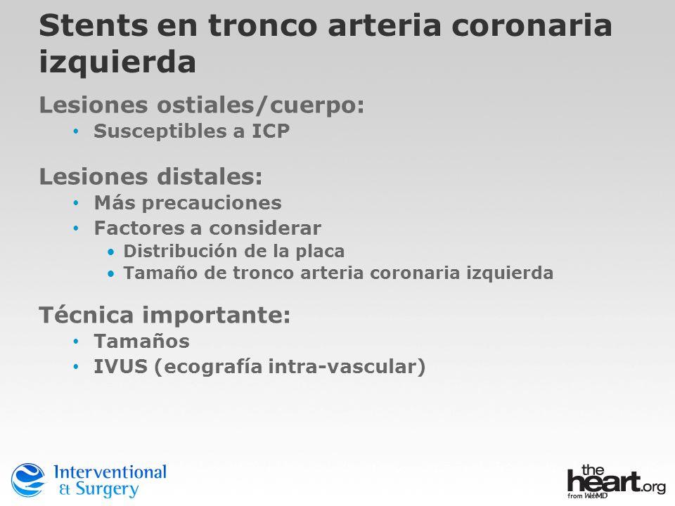 Stents en tronco arteria coronaria izquierda Lesiones ostiales/cuerpo: Susceptibles a ICP Lesiones distales: Más precauciones Factores a considerar Di