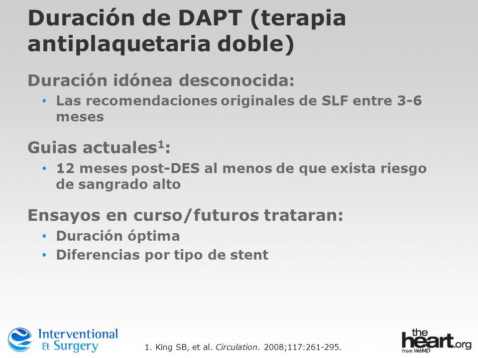 Duración de DAPT (terapia antiplaquetaria doble) Duración idónea desconocida: Las recomendaciones originales de SLF entre 3-6 meses Guias actuales 1 :