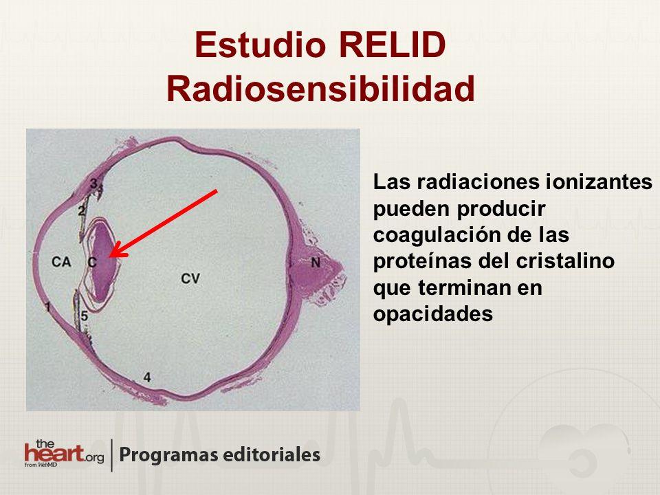 Las radiaciones ionizantes pueden producir coagulación de las proteínas del cristalino que terminan en opacidades Estudio RELID Radiosensibilidad