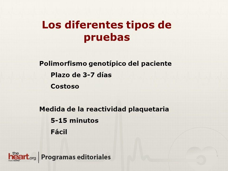 Los diferentes tipos de pruebas Polimorfismo genotípico del paciente Plazo de 3-7 días Costoso Medida de la reactividad plaquetaria 5-15 minutos Fácil