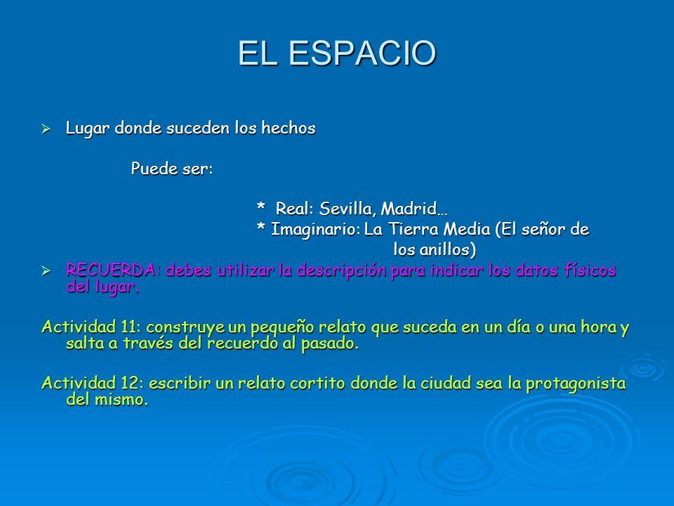 EL ESPACIO Lugar donde suceden los hechos Lugar donde suceden los hechos Puede ser: Puede ser: * Real: Sevilla, Madrid… * Real: Sevilla, Madrid… * Ima