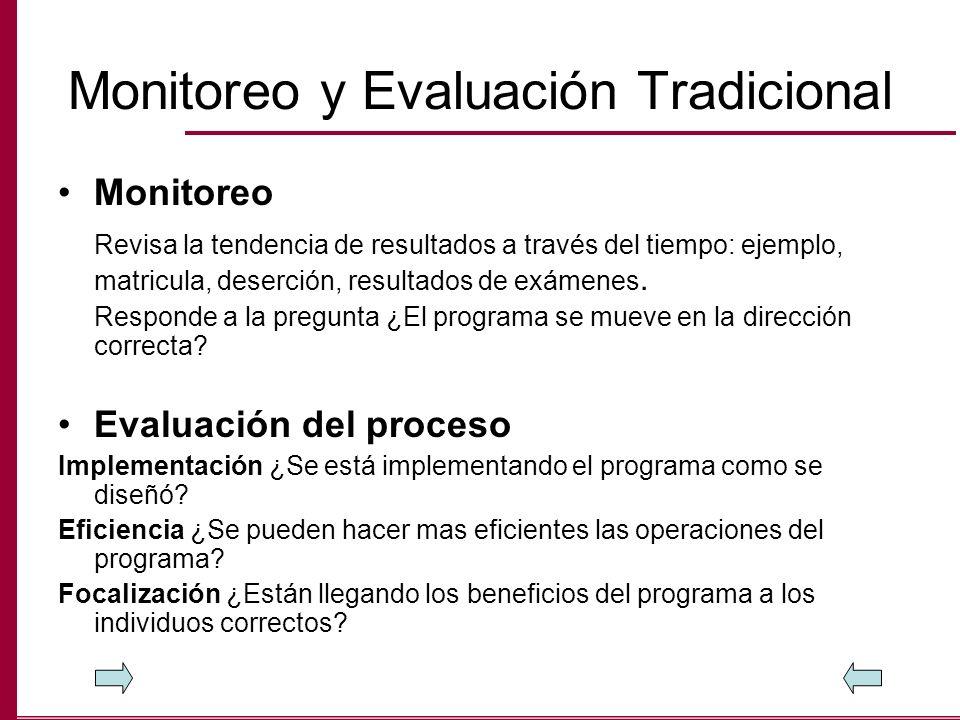 Monitoreo y Evaluación Tradicional Monitoreo Revisa la tendencia de resultados a través del tiempo: ejemplo, matricula, deserción, resultados de exáme