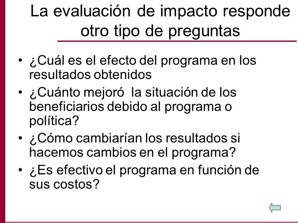 La evaluación de impacto responde otro tipo de preguntas ¿Cuál es el efecto del programa en los resultados obtenidos ¿Cuánto mejoró la situación de lo