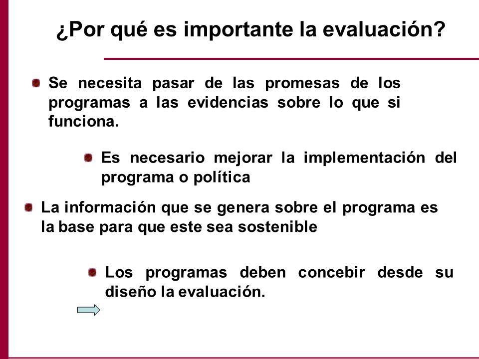 ¿Por qué es importante la evaluación? Se necesita pasar de las promesas de los programas a las evidencias sobre lo que si funciona. Es necesario mejor