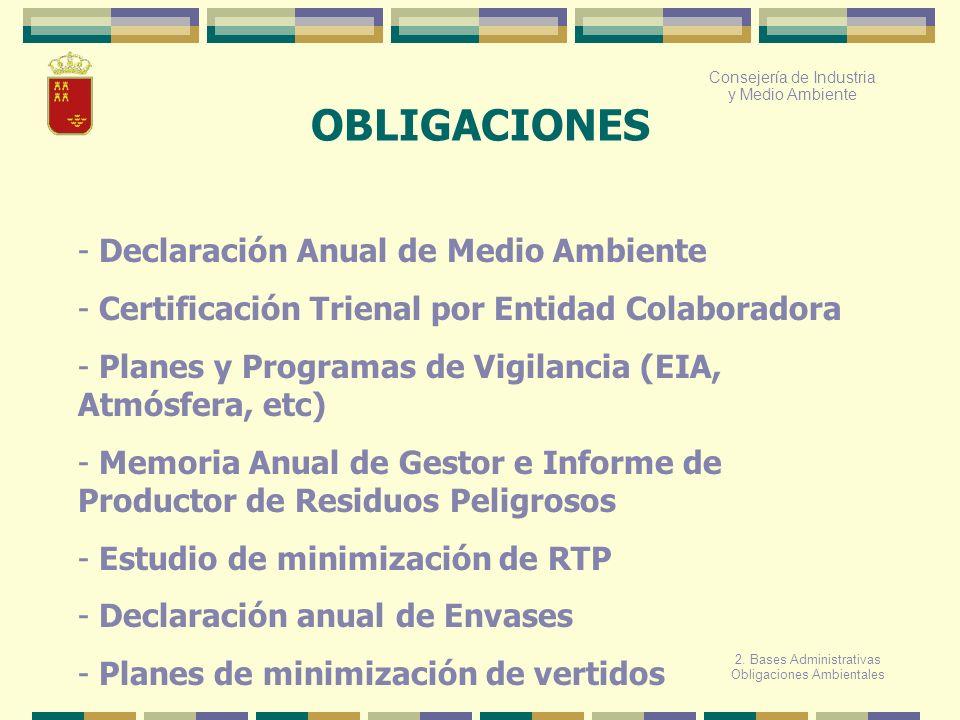 OBLIGACIONES - Declaración Anual de Medio Ambiente - Certificación Trienal por Entidad Colaboradora - Planes y Programas de Vigilancia (EIA, Atmósfera