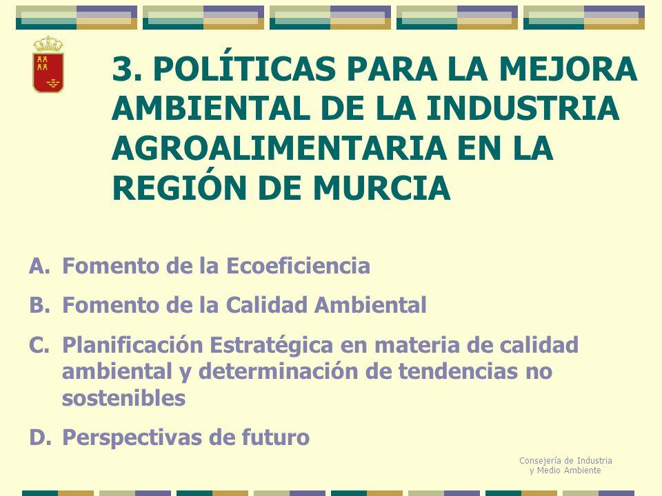 3. POLÍTICAS PARA LA MEJORA AMBIENTAL DE LA INDUSTRIA AGROALIMENTARIA EN LA REGIÓN DE MURCIA Consejería de Industria y Medio Ambiente A.Fomento de la