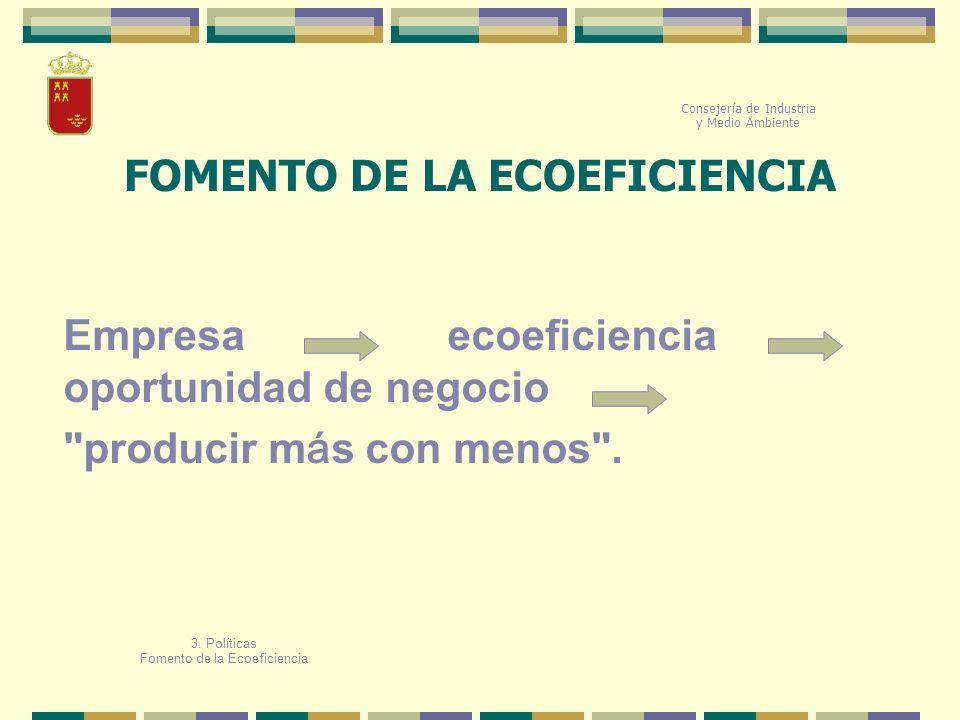 Consejería de Industria y Medio Ambiente Empresa ecoeficiencia oportunidad de negocio