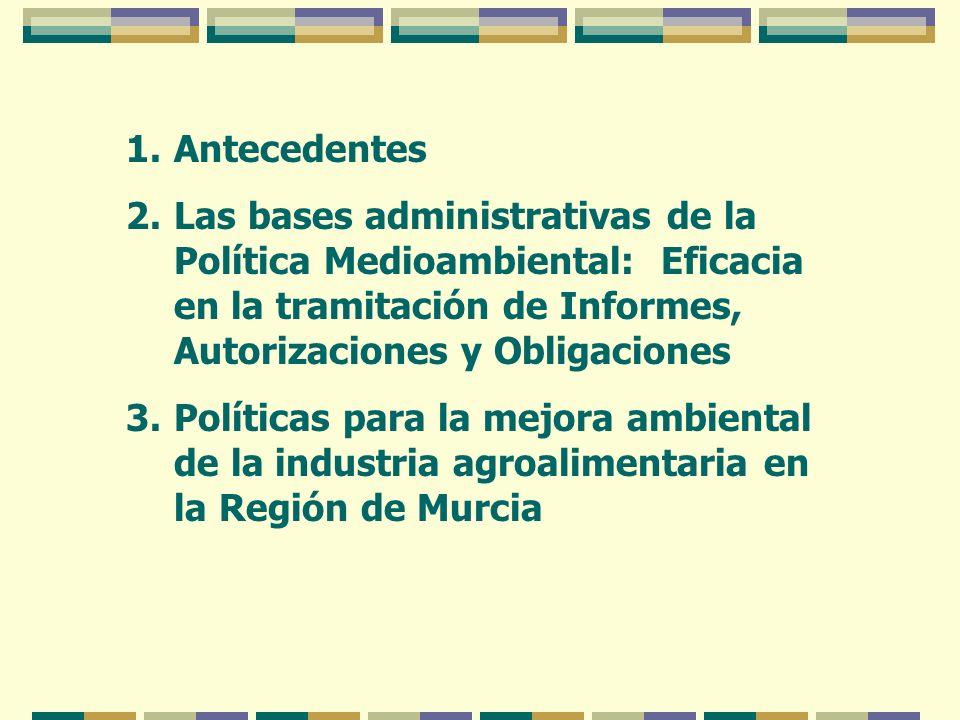1.Antecedentes 2.Las bases administrativas de la Política Medioambiental: Eficacia en la tramitación de Informes, Autorizaciones y Obligaciones 3.Polí