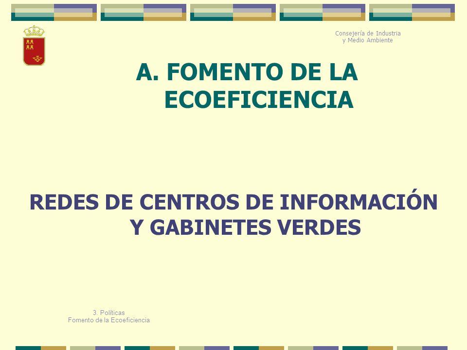 A. FOMENTO DE LA ECOEFICIENCIA Consejería de Industria y Medio Ambiente REDES DE CENTROS DE INFORMACIÓN Y GABINETES VERDES 3. Políticas Fomento de la