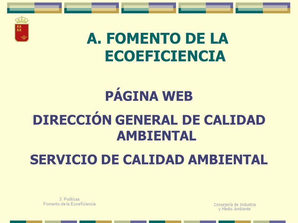 A. FOMENTO DE LA ECOEFICIENCIA Consejería de Industria y Medio Ambiente PÁGINA WEB DIRECCIÓN GENERAL DE CALIDAD AMBIENTAL SERVICIO DE CALIDAD AMBIENTA