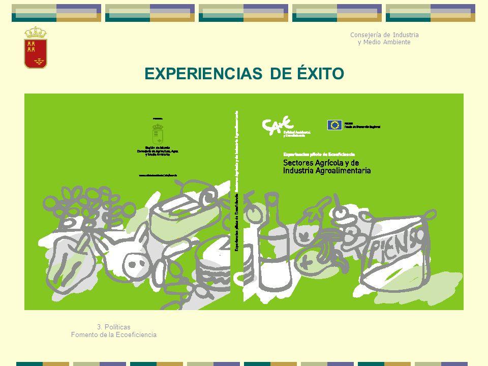 3. Políticas Fomento de la Ecoeficiencia EXPERIENCIAS DE ÉXITO Consejería de Industria y Medio Ambiente