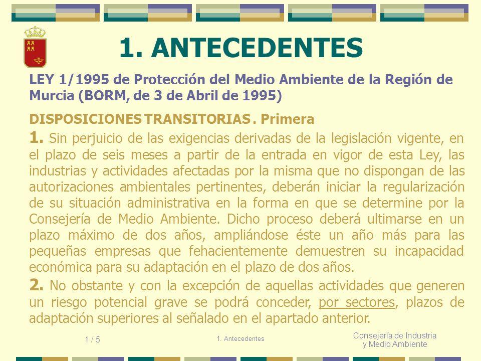 Consejería de Industria y Medio Ambiente 1. ANTECEDENTES LEY 1/1995 de Protección del Medio Ambiente de la Región de Murcia (BORM, de 3 de Abril de 19