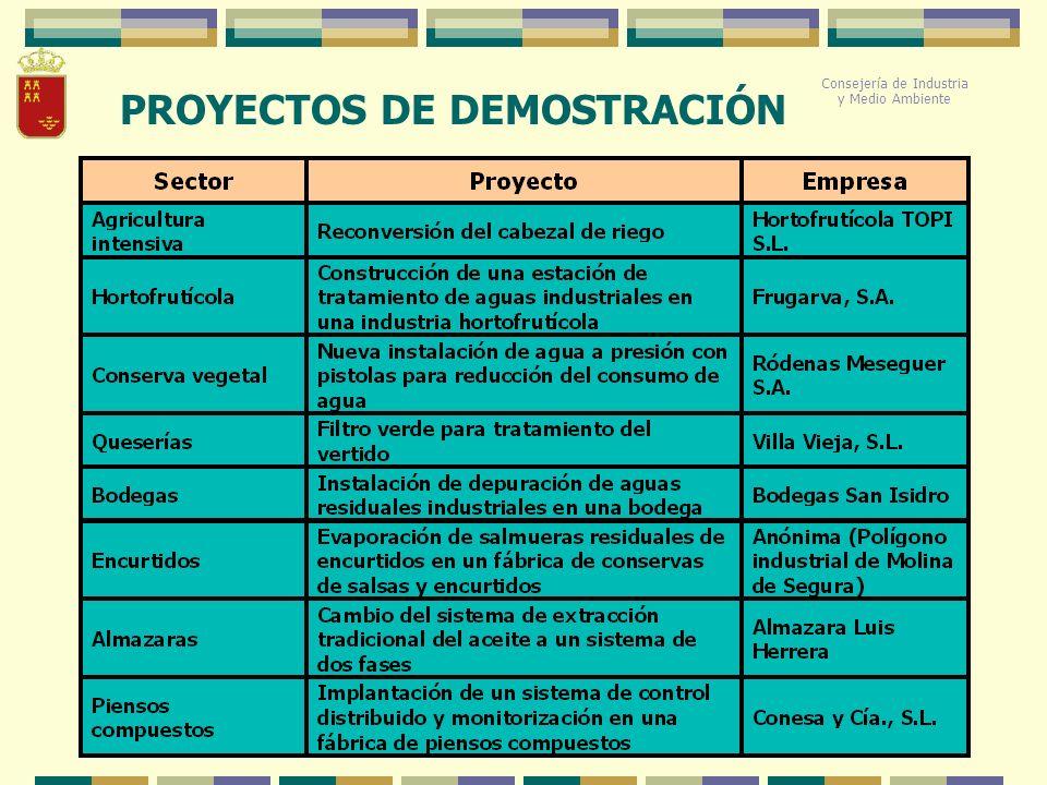 Consejería de Industria y Medio Ambiente PROYECTOS DE DEMOSTRACIÓN Consejería de Industria y Medio Ambiente
