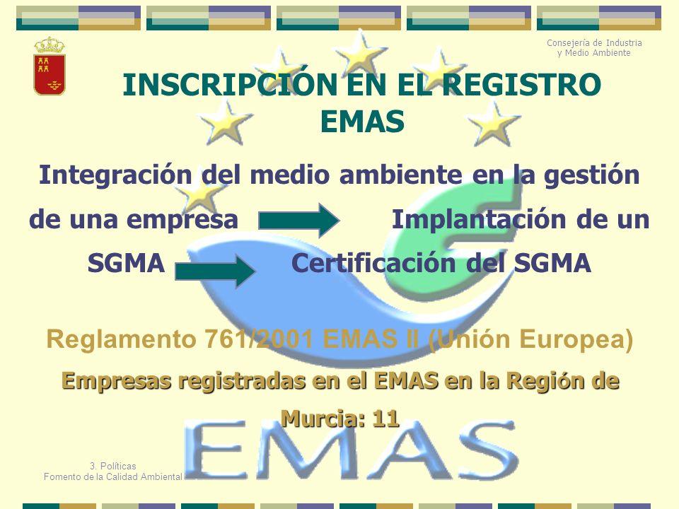 INSCRIPCIÓN EN EL REGISTRO EMAS Reglamento 761/2001 EMAS II (Unión Europea) Integración del medio ambiente en la gestión de una empresa Implantación d