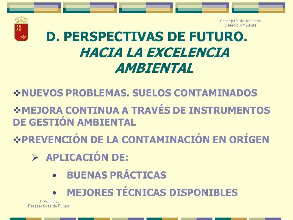 D. PERSPECTIVAS DE FUTURO. HACIA LA EXCELENCIA AMBIENTAL Consejería de Industria y Medio Ambiente NUEVOS PROBLEMAS. SUELOS CONTAMINADOS MEJORA CONTINU