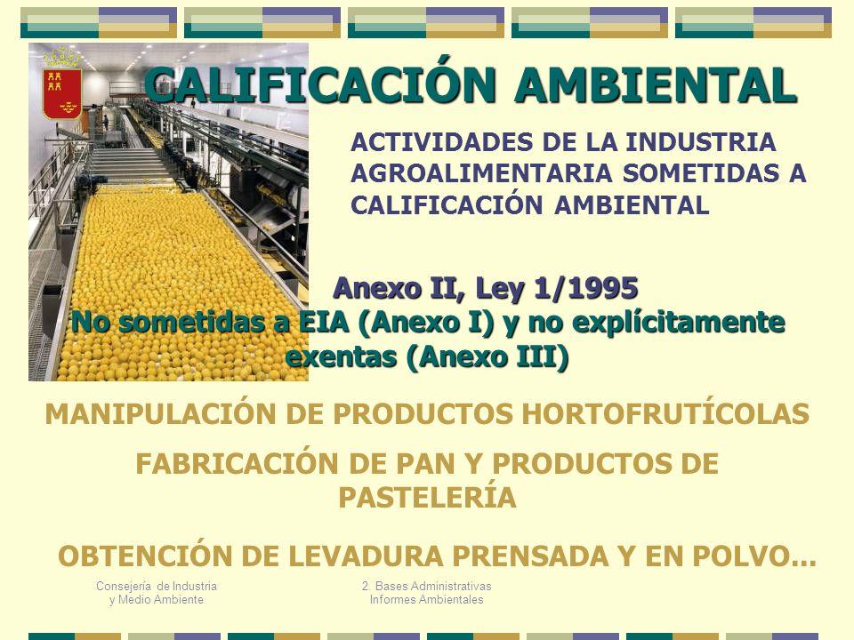 Consejería de Industria y Medio Ambiente CALIFICACIÓN AMBIENTAL ACTIVIDADES DE LA INDUSTRIA AGROALIMENTARIA SOMETIDAS A CALIFICACIÓN AMBIENTAL MANIPUL