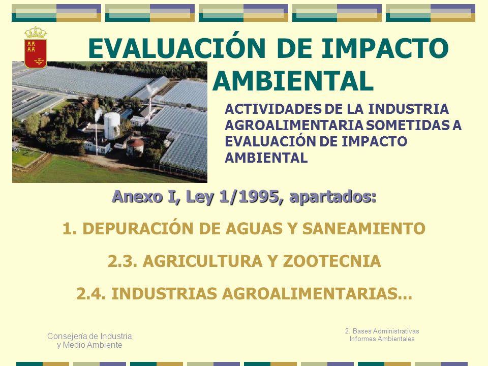 Consejería de Industria y Medio Ambiente EVALUACIÓN DE IMPACTO AMBIENTAL ACTIVIDADES DE LA INDUSTRIA AGROALIMENTARIA SOMETIDAS A EVALUACIÓN DE IMPACTO
