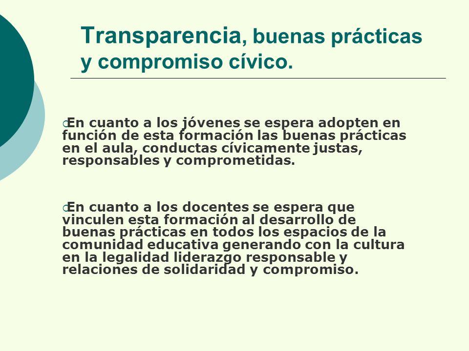 Transparencia, buenas prácticas y compromiso cívico.
