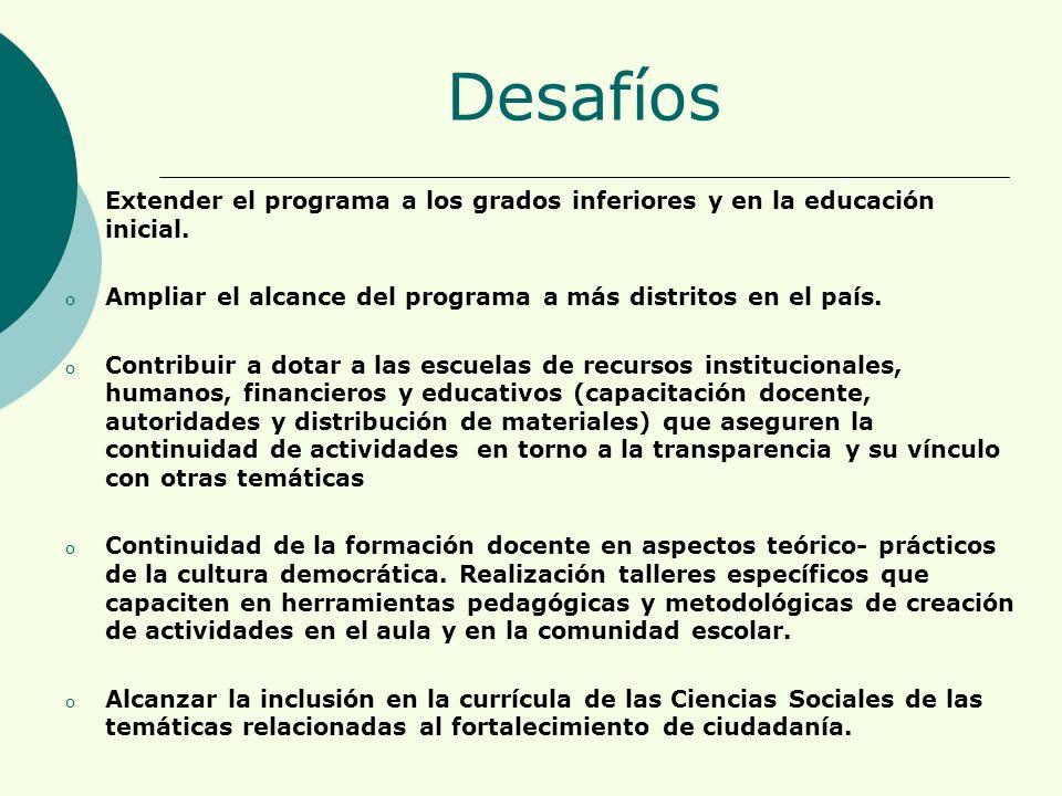 Desafíos o Extender el programa a los grados inferiores y en la educación inicial.