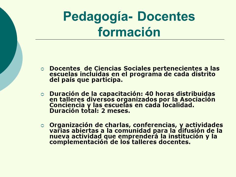 Docentes de Ciencias Sociales pertenecientes a las escuelas incluidas en el programa de cada distrito del país que participa.