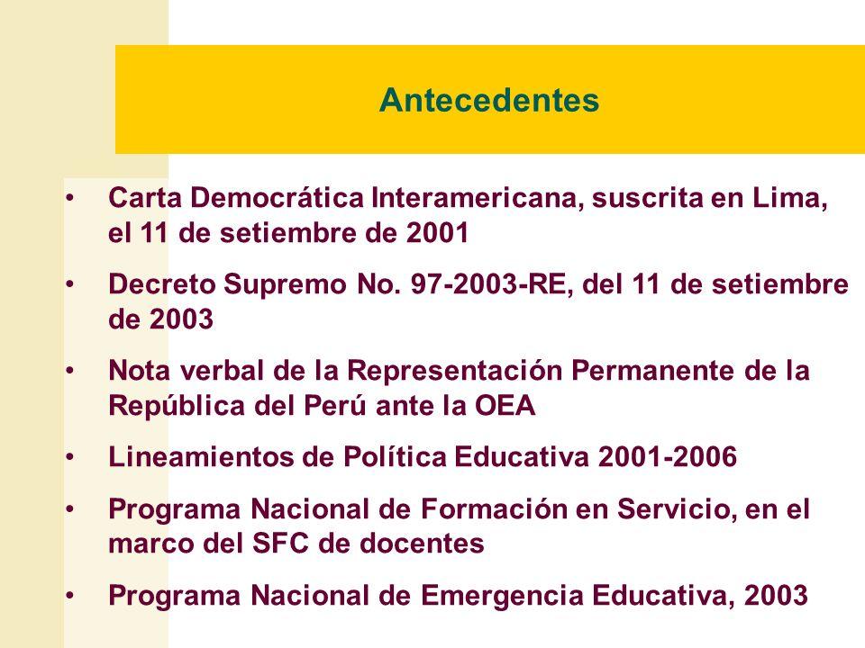 Antecedentes Carta Democrática Interamericana, suscrita en Lima, el 11 de setiembre de 2001 Decreto Supremo No. 97-2003-RE, del 11 de setiembre de 200