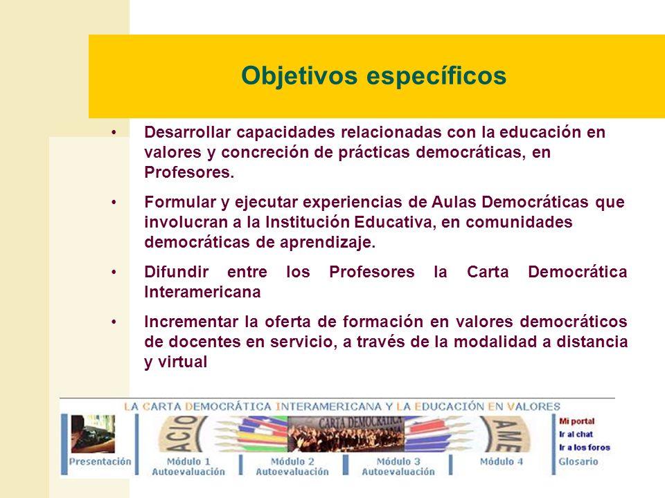 Objetivos específicos Desarrollar capacidades relacionadas con la educación en valores y concreción de prácticas democráticas, en Profesores. Formular