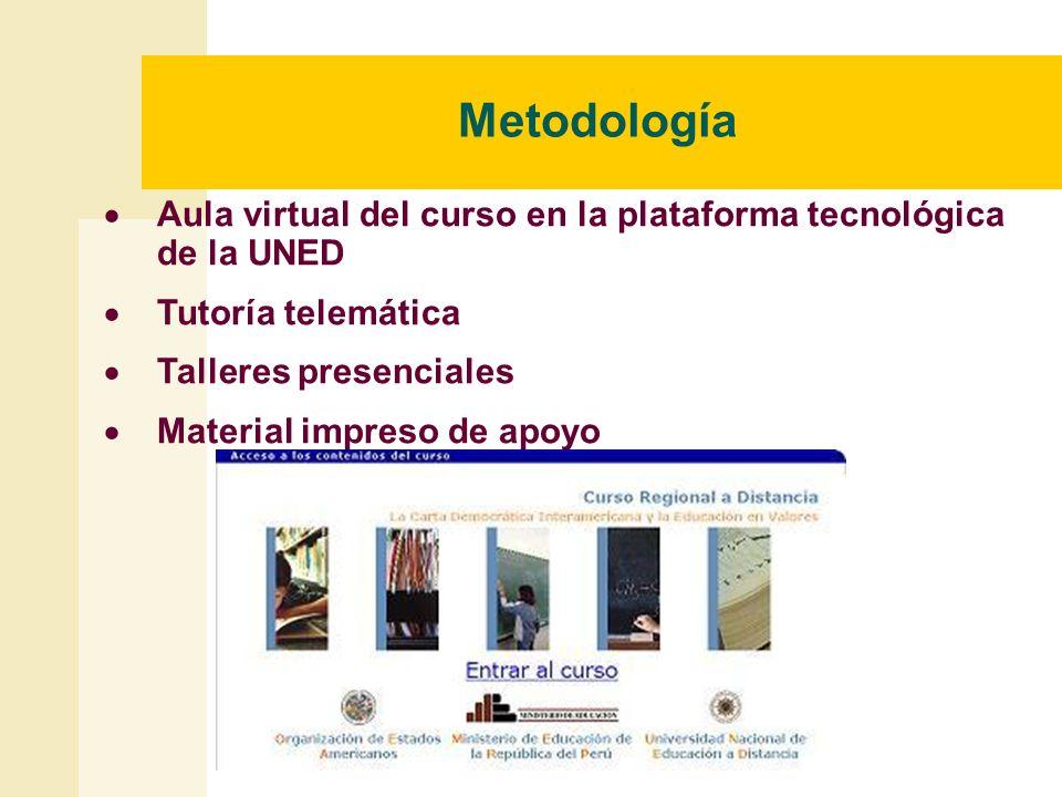 Metodología Aula virtual del curso en la plataforma tecnológica de la UNED Tutoría telemática Talleres presenciales Material impreso de apoyo