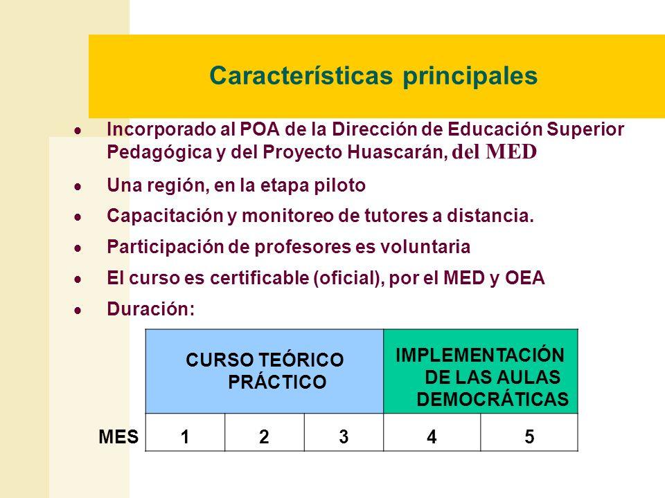 Características principales Incorporado al POA de la Dirección de Educación Superior Pedagógica y del Proyecto Huascarán, del MED Una región, en la et