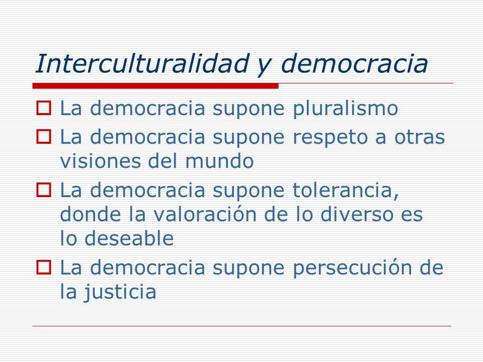 Interculturalidad y democracia La democracia supone pluralismo La democracia supone respeto a otras visiones del mundo La democracia supone tolerancia