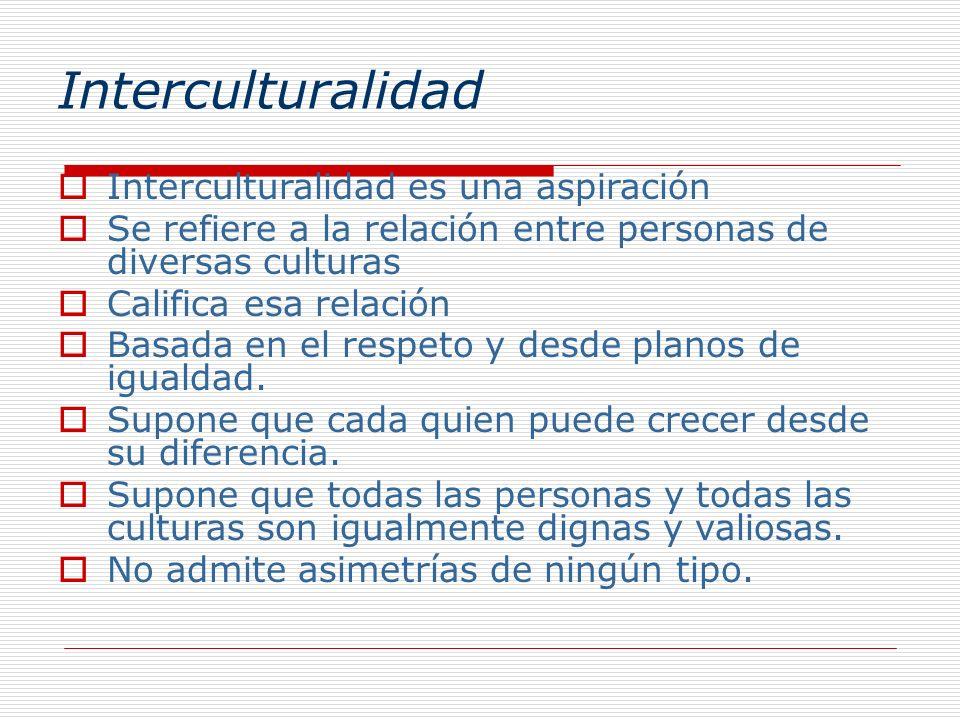 Interculturalidad Interculturalidad es una aspiración Se refiere a la relación entre personas de diversas culturas Califica esa relación Basada en el