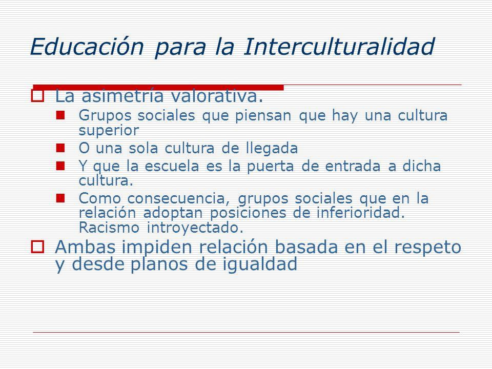 Educación para la Interculturalidad La asimetría valorativa. Grupos sociales que piensan que hay una cultura superior O una sola cultura de llegada Y
