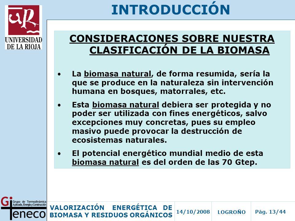 14/10/2008Pág. 13/44 VALORIZACIÓN ENERGÉTICA DE BIOMASA Y RESIDUOS ORGÁNICOS LOGROÑO INTRODUCCIÓN CONSIDERACIONES SOBRE NUESTRA CLASIFICACIÓN DE LA BI