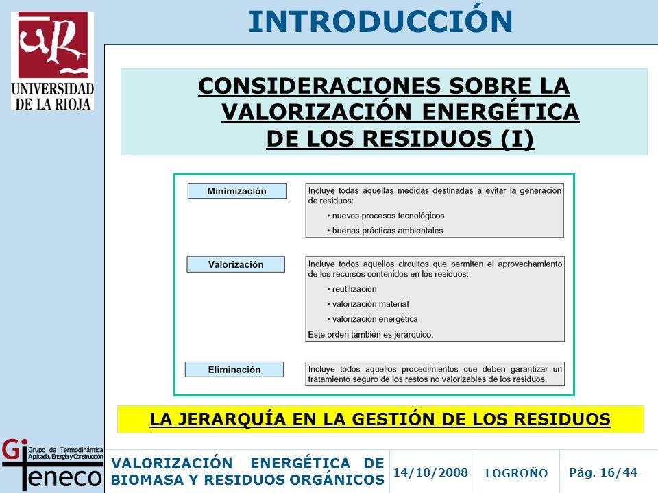 14/10/2008Pág. 16/44 VALORIZACIÓN ENERGÉTICA DE BIOMASA Y RESIDUOS ORGÁNICOS LOGROÑO INTRODUCCIÓN CONSIDERACIONES SOBRE LA VALORIZACIÓN ENERGÉTICA DE