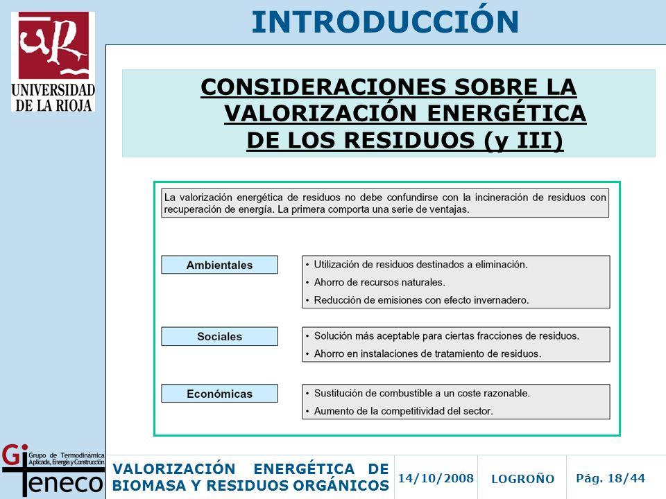 14/10/2008Pág. 18/44 VALORIZACIÓN ENERGÉTICA DE BIOMASA Y RESIDUOS ORGÁNICOS LOGROÑO INTRODUCCIÓN CONSIDERACIONES SOBRE LA VALORIZACIÓN ENERGÉTICA DE