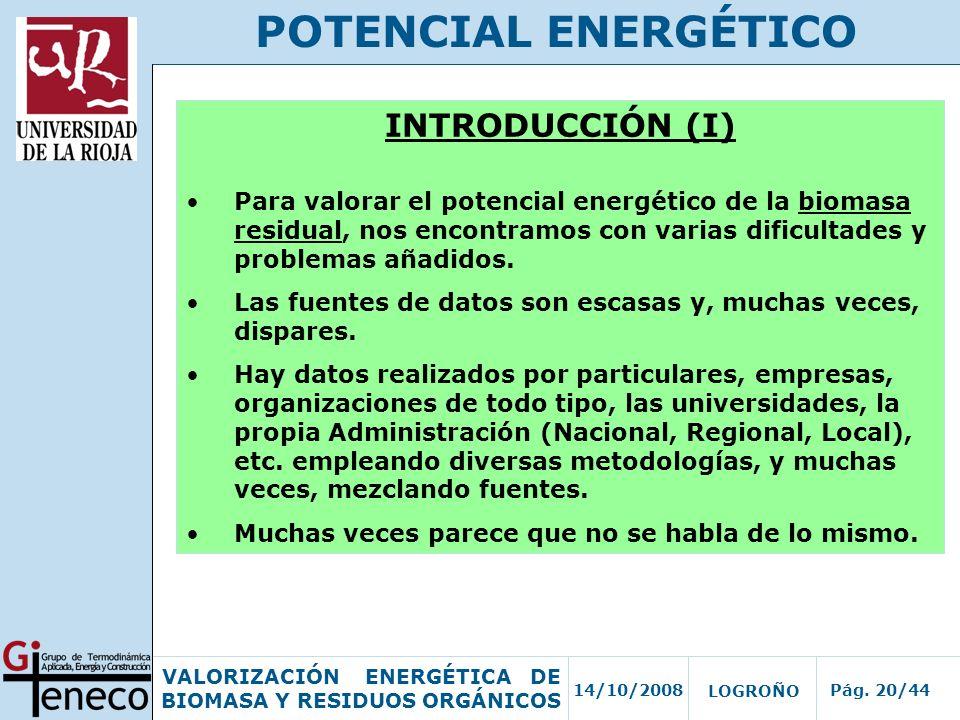 14/10/2008Pág. 20/44 VALORIZACIÓN ENERGÉTICA DE BIOMASA Y RESIDUOS ORGÁNICOS LOGROÑO POTENCIAL ENERGÉTICO INTRODUCCIÓN (I) Para valorar el potencial e