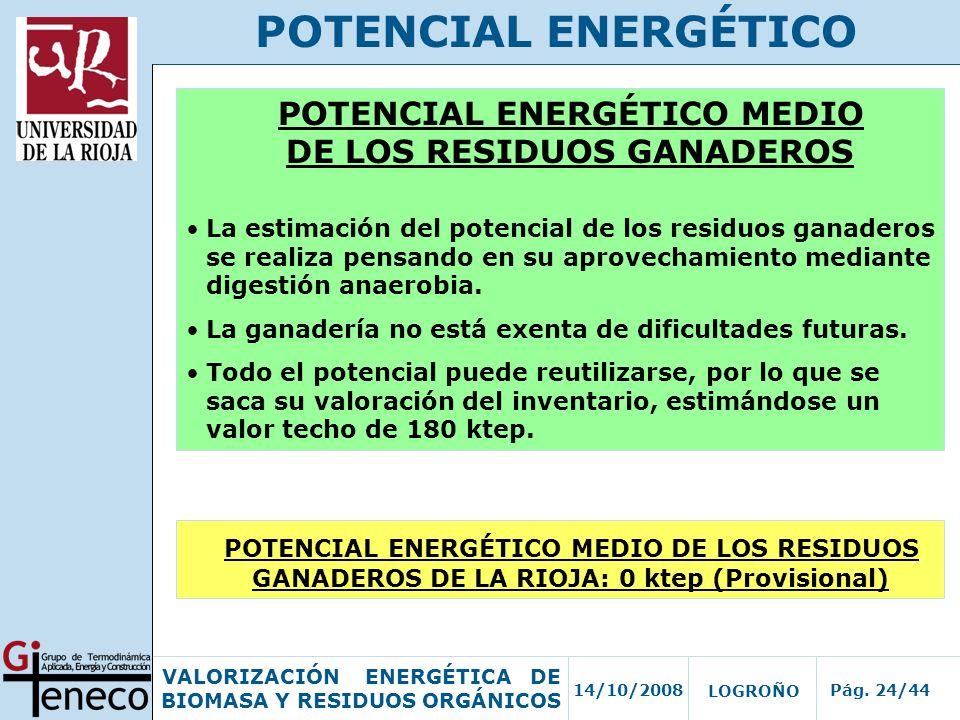 14/10/2008Pág. 24/44 VALORIZACIÓN ENERGÉTICA DE BIOMASA Y RESIDUOS ORGÁNICOS LOGROÑO POTENCIAL ENERGÉTICO POTENCIAL ENERGÉTICO MEDIO DE LOS RESIDUOS G