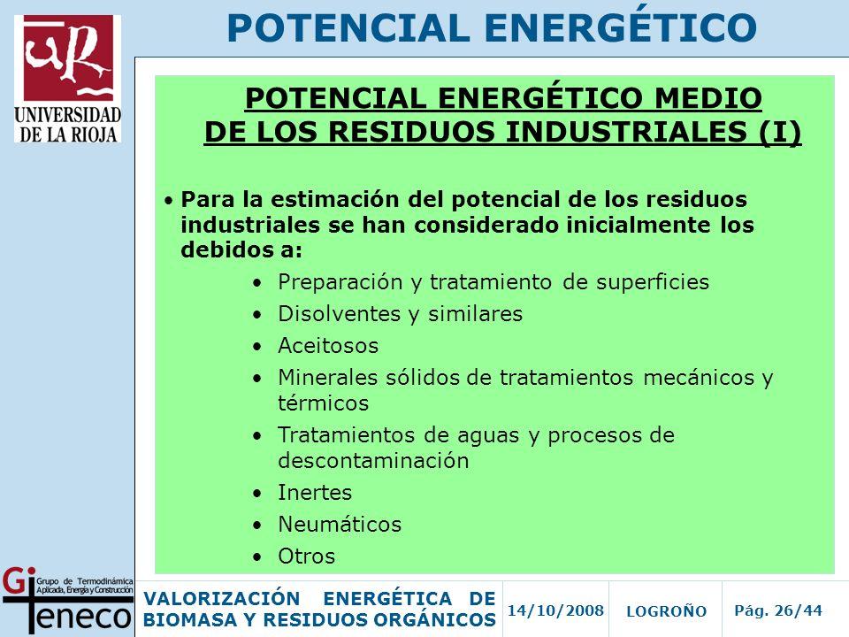 14/10/2008Pág. 26/44 VALORIZACIÓN ENERGÉTICA DE BIOMASA Y RESIDUOS ORGÁNICOS LOGROÑO POTENCIAL ENERGÉTICO POTENCIAL ENERGÉTICO MEDIO DE LOS RESIDUOS I