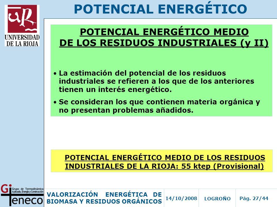 14/10/2008Pág. 27/44 VALORIZACIÓN ENERGÉTICA DE BIOMASA Y RESIDUOS ORGÁNICOS LOGROÑO POTENCIAL ENERGÉTICO POTENCIAL ENERGÉTICO MEDIO DE LOS RESIDUOS I