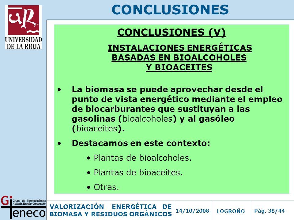 14/10/2008Pág. 38/44 VALORIZACIÓN ENERGÉTICA DE BIOMASA Y RESIDUOS ORGÁNICOS LOGROÑO CONCLUSIONES CONCLUSIONES (V) INSTALACIONES ENERGÉTICAS BASADAS E