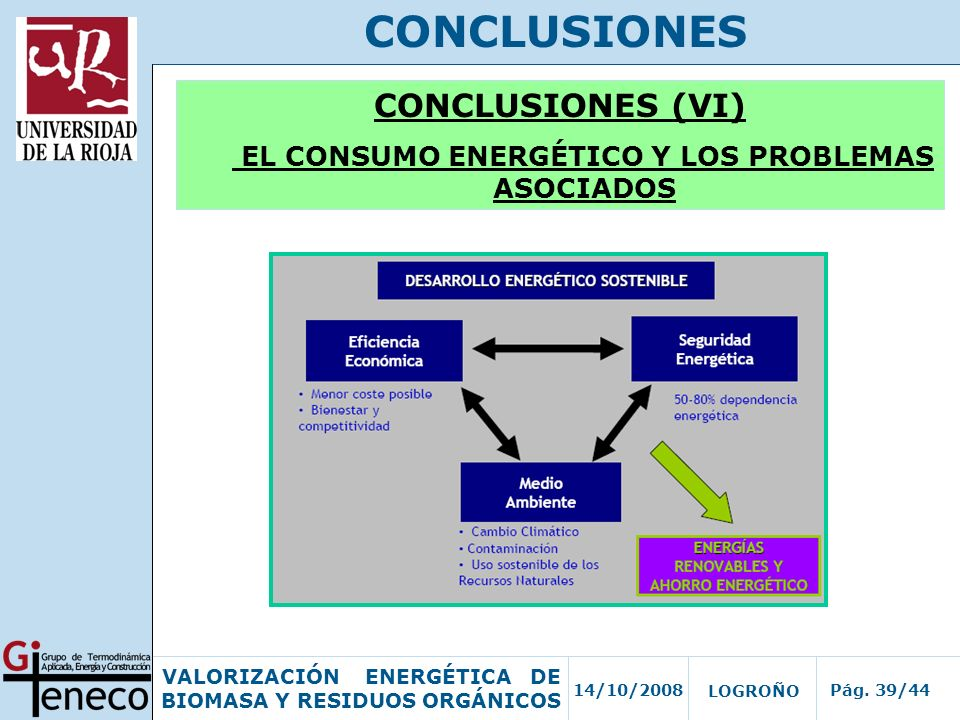 14/10/2008Pág. 39/44 VALORIZACIÓN ENERGÉTICA DE BIOMASA Y RESIDUOS ORGÁNICOS LOGROÑO CONCLUSIONES CONCLUSIONES (VI) EL CONSUMO ENERGÉTICO Y LOS PROBLE