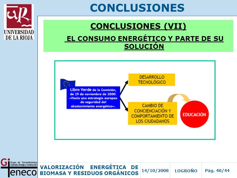 14/10/2008Pág. 40/44 VALORIZACIÓN ENERGÉTICA DE BIOMASA Y RESIDUOS ORGÁNICOS LOGROÑO CONCLUSIONES CONCLUSIONES (VII) EL CONSUMO ENERGÉTICO Y PARTE DE