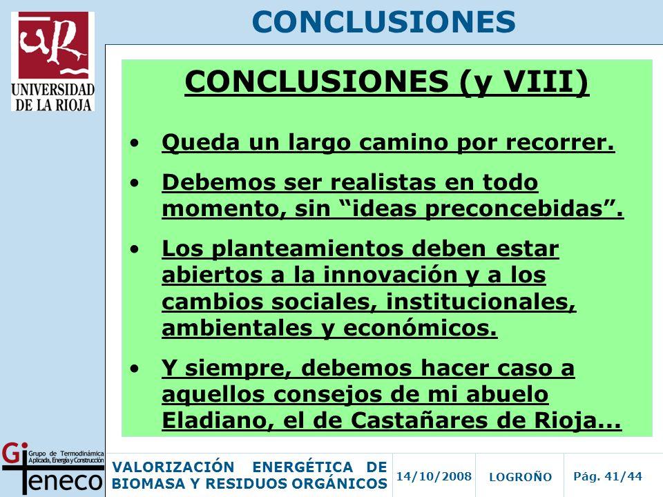 14/10/2008Pág. 41/44 VALORIZACIÓN ENERGÉTICA DE BIOMASA Y RESIDUOS ORGÁNICOS LOGROÑO CONCLUSIONES CONCLUSIONES (y VIII) Queda un largo camino por reco