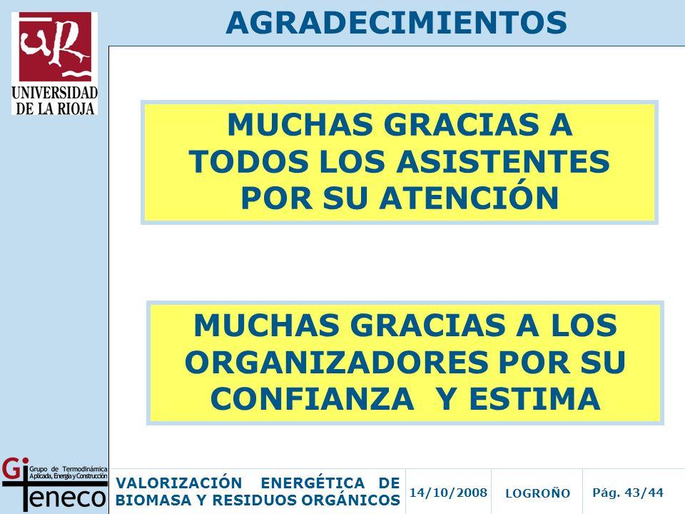 14/10/2008Pág. 43/44 VALORIZACIÓN ENERGÉTICA DE BIOMASA Y RESIDUOS ORGÁNICOS LOGROÑO AGRADECIMIENTOS MUCHAS GRACIAS A TODOS LOS ASISTENTES POR SU ATEN