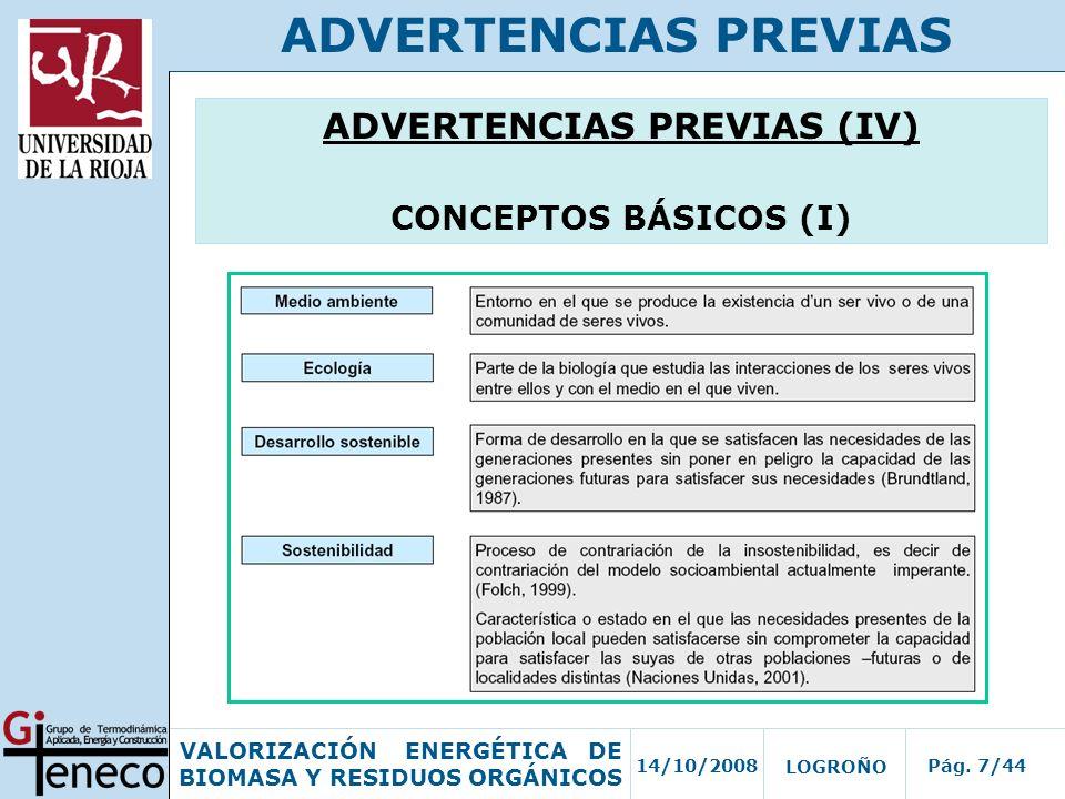 14/10/2008Pág. 7/44 VALORIZACIÓN ENERGÉTICA DE BIOMASA Y RESIDUOS ORGÁNICOS LOGROÑO ADVERTENCIAS PREVIAS ADVERTENCIAS PREVIAS (IV) CONCEPTOS BÁSICOS (