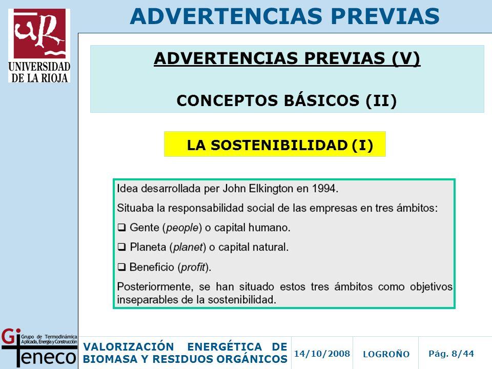 14/10/2008Pág. 8/44 VALORIZACIÓN ENERGÉTICA DE BIOMASA Y RESIDUOS ORGÁNICOS LOGROÑO ADVERTENCIAS PREVIAS ADVERTENCIAS PREVIAS (V) CONCEPTOS BÁSICOS (I