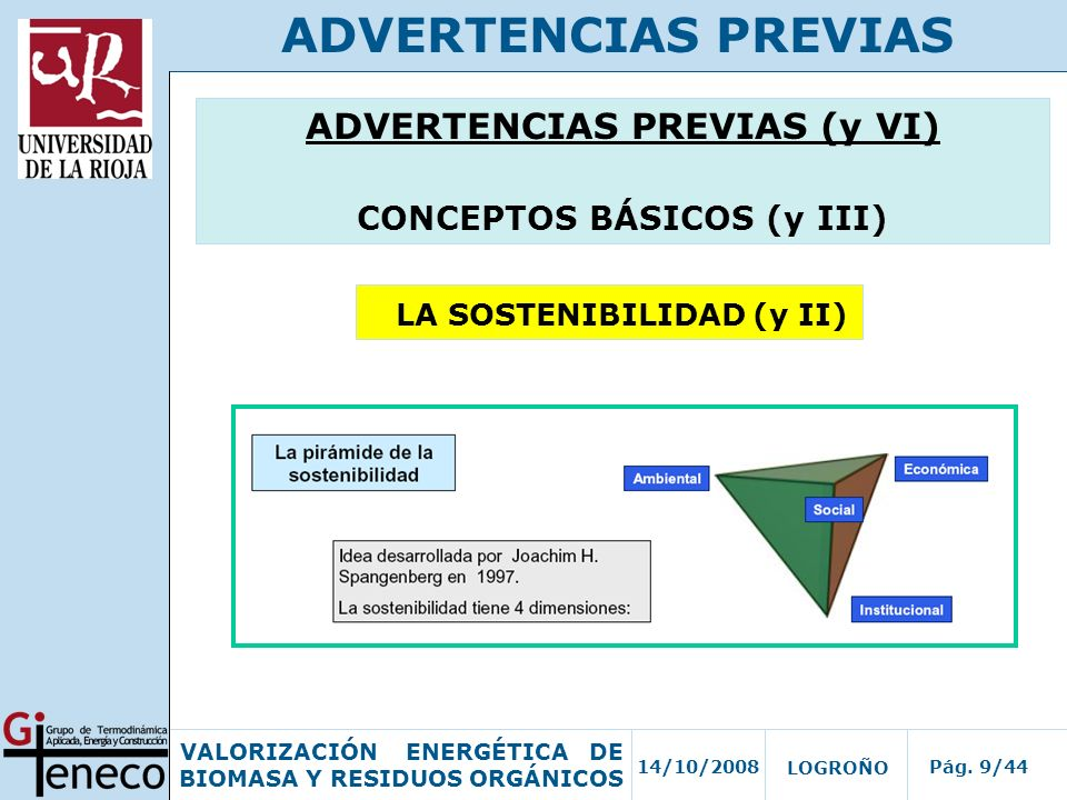 14/10/2008Pág. 9/44 VALORIZACIÓN ENERGÉTICA DE BIOMASA Y RESIDUOS ORGÁNICOS LOGROÑO ADVERTENCIAS PREVIAS ADVERTENCIAS PREVIAS (y VI) CONCEPTOS BÁSICOS